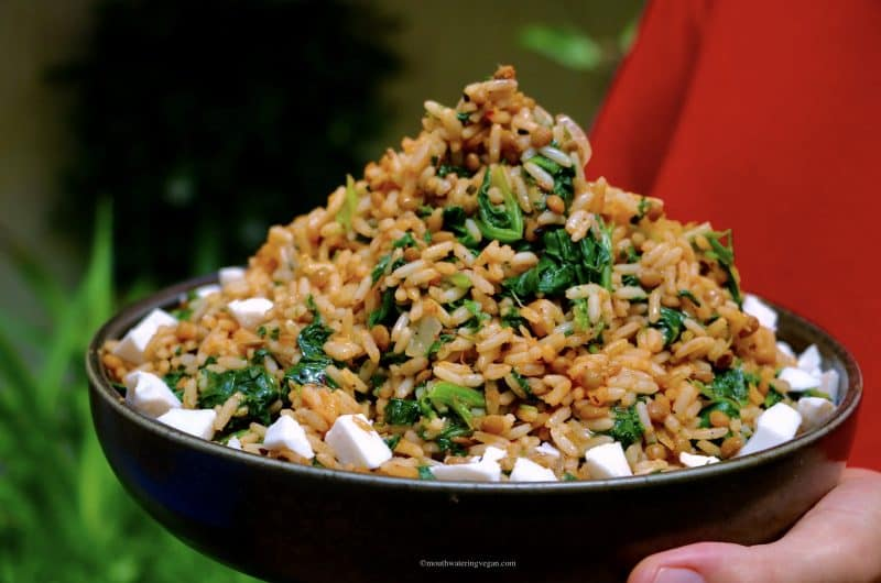 Rice & Lentils with Spinach (Pilafi me Fakes)